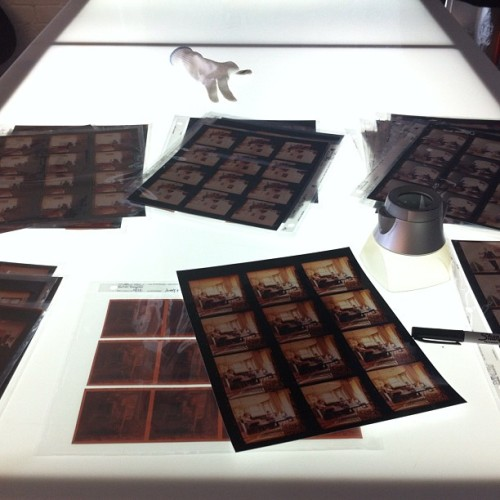 I'm sorry but I still love the excitement of c-printed #contactsheets, a #sharpie, a #lighttable & a #loupe (Taken with Instagram at Bakery Photographic Collective)