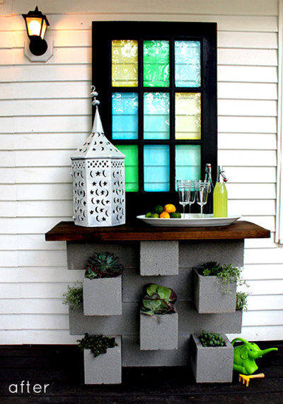 How do you turn some cinder blocks and an old door into an outdoor bar? Here's how.