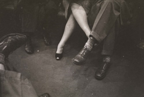 "drinkyourjuice:   ""Couple playing footsies on a subway"" 1946 photograph by Stanley Kubrick, from Life and Love on the New York City Subway, now on display at the Museum of the City of New York  [sarahspy]  This is not a couple playing footsies. This is a girl whose thighs touch trying to keep her legs crossed by hooking her foot around someone else. Can I get an amen, Ladies Whose Thighs Also Touch?"