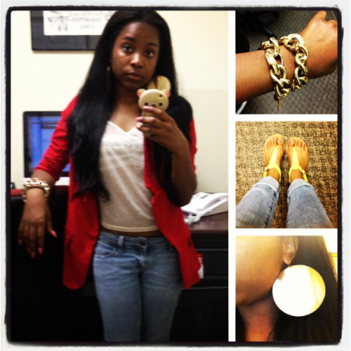 Blazer: Urban Outfitters Shirt: Forever 21 Bandeau top: Forever 21 Jeans: Forever 21 Necklace turned into bracelet: Forever 21 Earrings: Aldo's  Sandals: Old Navy