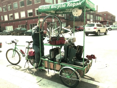 How cool is this? Pedal To The People 'Chicago's Premiere Mobile Bike Shop' glotalot:  Curently getting my bike tuned up right here ar work by Pedal to the People - they come to you. How convenient!