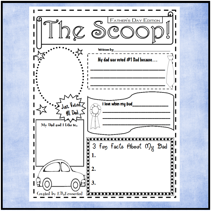 "Father's Day Freebie!  #elemchat #spedchat  I recently created a fun (freebie) Mother's Day Newspaper (1 page) and shared it on my guest post at The Organized Classroom Blog. Since then I have had requests for a Father's Day version of ""The Scoop"".   Of course I wouldn't want to leave the dads out so I created a Father's Day freebie and added it to my TpT store. I included versions for grandpas, uncles, and brothers too. All great father figures in many children's lives. You can pick up the Mother's Day version here. You may also like some of my other freebies. Scrabble Boggle Worksheet Graduation Frames Football Word Bank and Writing Templates"