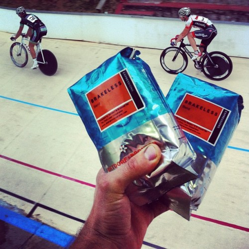 BRAKELESS BLEND   Guaranteed to improve your Flying 200 time by at least half a second.  Batdorf & Bronson's new Brakeless Blend is available exclusively through Dick Lane Velodrome.  Go get caffeinated!  Photo by TwoToneATL.