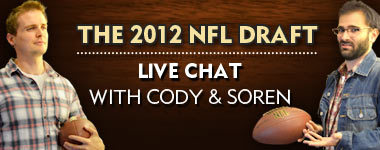 Tonight, Soren and I are doing a live chat for the NFL draft. As you can see, we are both equally in the know. I'll either talk about Lebron the whole time, or Old Spice, because it's sponsored by Old Spice. Speaking of, I've heard good things about Old Spice. Go buy some. 5:00pm PST, here.