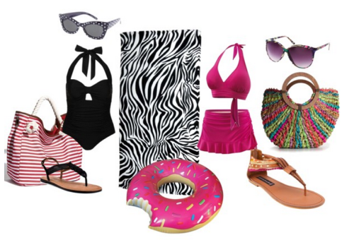 "Plus size swim ideas It's summertime again and time to think about poolside and beach ideas.  Here are a few that are perfect for plus size folks On the left is a more classic look - I love the polka-dot sunglasses with the gorgeous cut-out halter one-piece.  On the right is pulling from the neon trends of this summer. Paired with bright sandals but mixing it with natural elements in the bag and shoes. And of course I don't know about y'all, but I am LUSTING after that hilarious donut pool float.  Perfect for the fabulous unashamed fat folks out there.       Black one piece bathing suit, $69Plus size swimwear, $40Steve madden sandals, $120Corso Como black flat sandals, $95Street Level canvas tote bag, $36Woven tote, $40ASOS vintage sunglasses, $22Black White Zebra Striped Beach Towel 60"" X 30"", $32Plus Size Crystal Cove Halter Top 