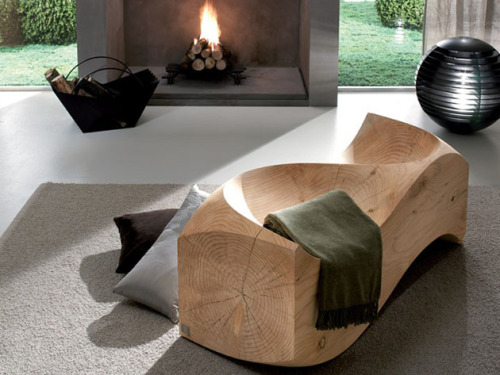 Get out your power sander. This sculptural wooden bench adds a touch of nature to any modern home. Creative and ergonomic! - Team Forrage
