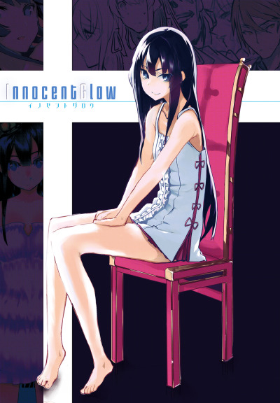 twinsyu2:  1girl barefoot bare shoulders black hair blue eyes chair feet high res original rinnkai sitting smile solo | Sankaku Channel