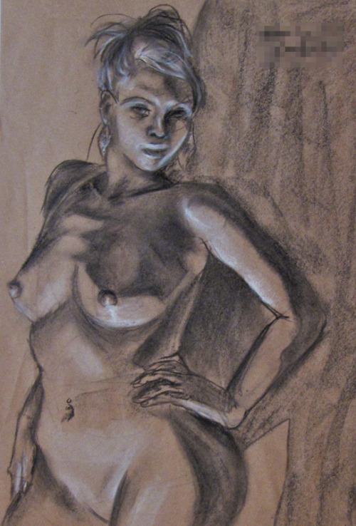 More figure drawing crap from 2010 Also I had to write my full name on the assignment and I blurred it out.  I'm not ready for people on tumblr to know that information :I