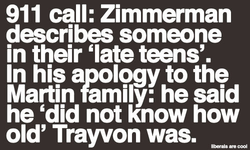 "Image:  ""911 Call: Zimmerman describes someone in their 'late teens'. In his apology to the Martin family: he said he 'did not know how old' Trayvon was."""