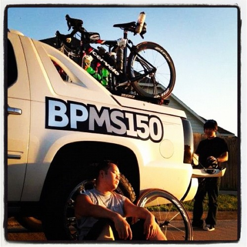 Tired from a long weekend. #ms150 #bpms150 #bike #cervelo #zipp #carbon #fiber #carbonfiber #cadillac #escalade #truck   (Taken with instagram)