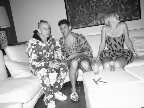 Jeremy Scott and Johnny Makeup in Frank Sinatra's living room. Frank would have adored his guests!  Photo by Brad Elterman