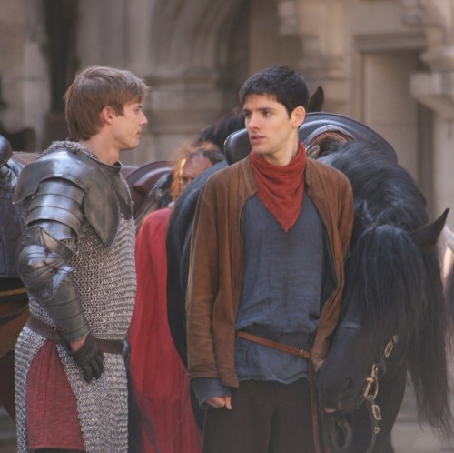 Bradley James as Arthur and Colin Morgan as Merlin in BBC's Merlin