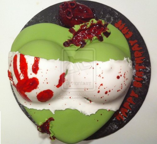 Zombie Bust Cake by ~Corpse-Queen