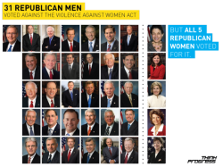 beautiful-anomaly:  abaldwin360:  think-progress:  31 Republican men voted against the Violence Against Women Act in the Senate today. All 5 Republican women voted for it.  Surprise.   But, there is no war on women. Right? Right? *crickets*  Classy folk    Women are the most beautiful of natures creation.