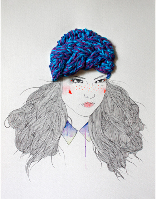 Loving that blue knit hat and the defiant look! #art #mixedmedia