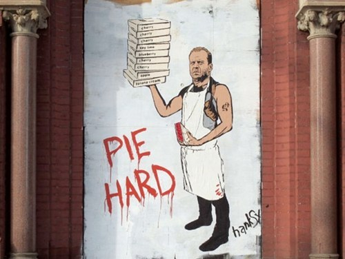 "thedailywhat:  Street Art of the Day: Hanksy returns, with the culinary-inspired duo Pie Hard and ""Ice, Ice Babies."" [huffpo]"