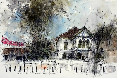 Ch'ng Kiah Kiean, Penang Islamic Museum, Chinese ink & watercolour on paper, 2012