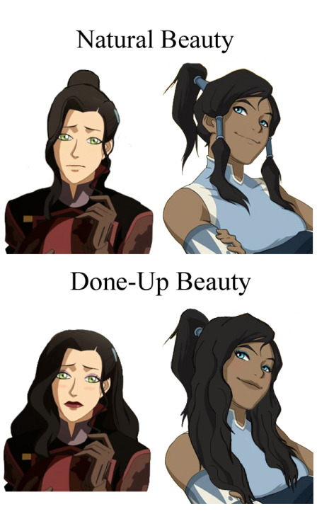 artiselegantes:  Everyone's saying how hot Asami is, and I noticed … wow, that cartoon character is wearing a lot of make-up. Just like in real life, girls that are all made up can look sexy. Sooo I thought I'd show you all what Asami looks like without her make-up and hair done. AND to go further, I wanted to see what Korra looked like with her hair all done and make-up on. Guess what, everybody. Whether all natural or made up, Korra is still the sex. ;] (I wish I had better images of them both to compare though. If anyone has better pictures, upload them and message me on Tumblr.)