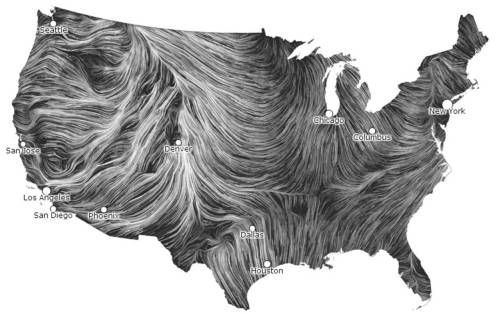 "Well this is the coolest thing I've seen in a fortnight: ""These wind maps are part of a personal art project created by Fernanda Viégas and Martin Wattenberg of HINT.FM. They take real-time wind data collected from the National Digital Forecast Database and animate them to reveal the wind's utterly gorgeous fluid pathways over the United States. The still images are lovely, but you should watch the moving maps on the site for the full effect."" via Anthology Mag"