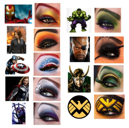 rosalarian:  sugarpillcosmetics:  Completely awe-inspiring Avengers looks by Jangsara using Sugarpill eyeshadows and eyelashes. The girl is an absolute genius!  AAAAAAAAAAAHHHHHH! So cool!  The Iron Man, Loki and Nick Fury ones are especially amazing.