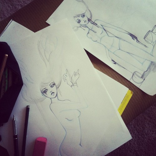 leilanijoy:  Sketching at the coffee table sittin on the floor! Just like being 12 again! A couple of #wip going on. More to come! (Taken with instagram)  I want to art like this please. Give me skills.