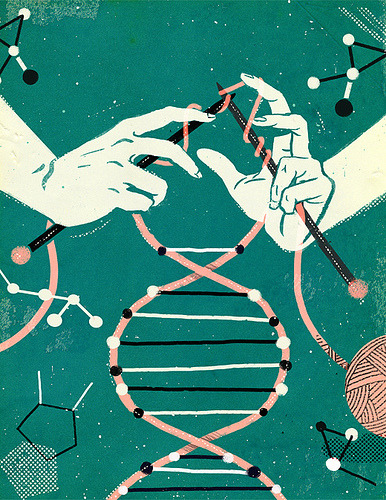 "Epigenetics - McGill News (by Matt Forsythe) Interesting illustration, aptly named!   Epigenetics, literally translated means ""above the genome.""  It's the study of how different environmental factors can alter the way our genetic code is expressed.  Interested?  Watch this episode of NOVA all about it! http://www.pbs.org/wgbh/nova/body/epigenetics.html"