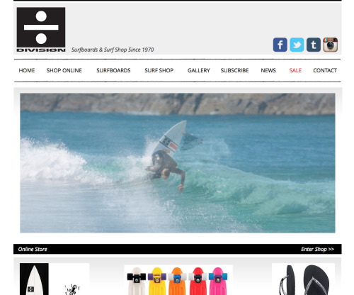 Check out the all new Division website! Shop your favourite brands on-line, peruse our new range of surfboards, or check out the daily goodness on the blog. Hope you give it the thumbs up.