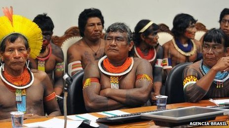 """selchieproductions:  Latin American indigenous groups join forces to fight dams© BBC Brasil When Brazilian indigenous leader Tashka Yawanawa saw the news on television that communities from Peru were campaigning to prevent the construction of dams close to their land, he had no doubt about how he could help. He turned on his computer, and using Skype, he contacted indigenous movements involved in the protest to offer both his support and to publicise the cause in Brazil. """"Today, indigenous groups can no longer escape the white man's technology,"""" says Mr Yawanawa. """"We have to update ourselves, and prepare to face this new world."""" He belongs to the Yawanawa people, who live in the Brazilian Amazon, an area where indigenous communities have also fought many battles against hydroelectric dams. He leads an organisation that seeks to build links with similar movements in other Latin American countries so they can learn from each other's campaigns. His initiative reflects an unprecedented effort among the region's indigenous groups, as they join forces to resist major projects which they see as damaging to their territories. It is part of a growing conflict as governments, seeking what they say is badly needed economic growth, build roads and hydro-electric dams, and exploit natural resources such as oil, copper and gold. At the same time, indigenous groups say they are fighting to ensure that their traditional way of life is preserved. Skype is one tool they are using to co-ordinate campaigns, alongside more traditional tactics such as adopting a unified position in international organisations including the UN and the Organisation of American States (OAS). """"We are mapping all the achievements of our fellow indigenous peoples in the continent in order to use their experiences here in Brazil,"""" says Marcos Apurina from the Co-ordination of Indigenous Organisations of the Brazilian Amazon (Coiab). """"Our problems are almost identical to the native peoples of other countries."""" '"""