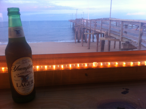 A Yuengling by the pier in Nags Head, NC