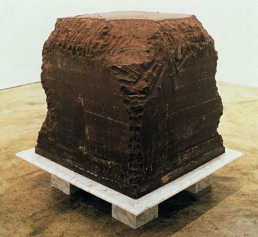Janine Antoni  Gnaw  1992  600 lbs. of chocolate and 600 lbs of lard gnawed by the artist.