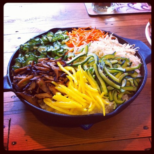 Improvised 돌솥비빔밥 (beebimbop in stone pot) #korean #food (Taken with instagram)