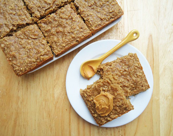 beautyisachoice:  Peanut Butter Banana Oatmeal Squares. Recipe here.