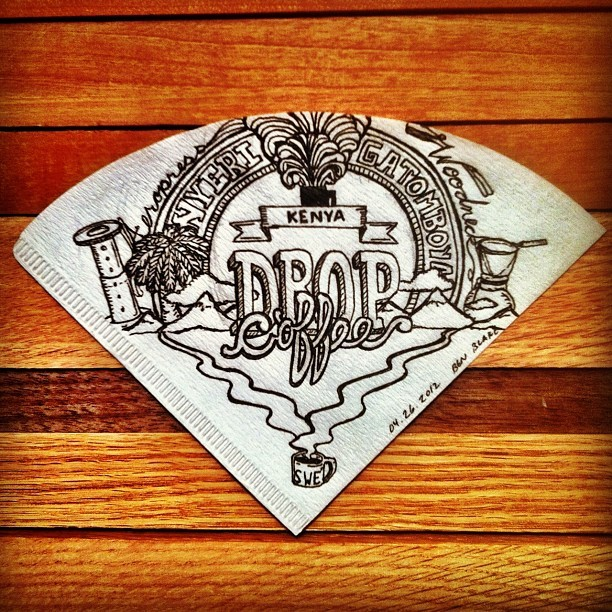 Doodle: Kenya Nyeri from @dropcoffee. Straight from Sweden, with a short stop in PDX. Such a bright and juicy coffee. #coffee #doodle #sweden #kenya (Taken with instagram)  #coffee #doodle #drawing #art #sketch #filter #illustration #ink #instagramhub #instamood