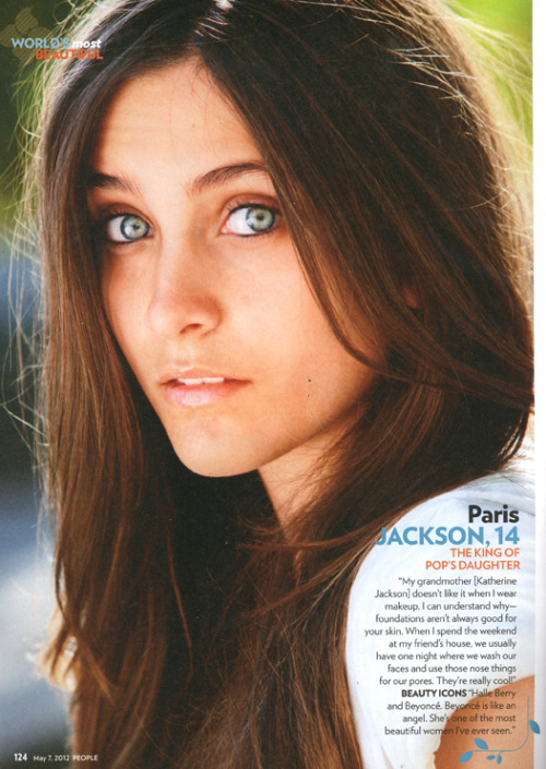 suicideblonde:  Paris Jackson photographed by Ben Watts for People Magazine's World Most Beautiful Issue -, May 7th, 2012 Michael Jackson's daughter was in the women photographed without makeup section they did in the issue.  She is a stunner - what beautiful eyes!