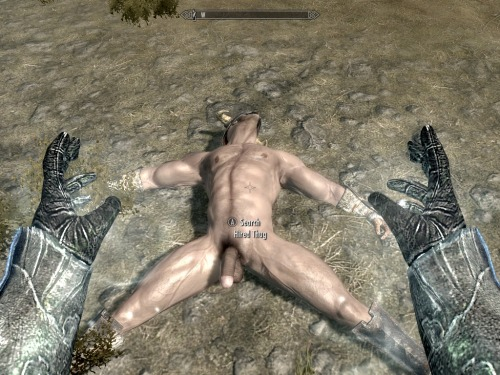 LOOOOOOOOOOOOOOOOOL! The mod affects ALL male body meshes, it seems, so now I can't loot enemy armor without seeing this. HAAAAAAAAAAAAAAH!