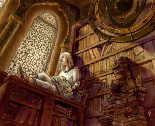 Reminds me a little of the library at Hollow Bastion, in Kingdom Hearts.  Looks like one of the best places in the world(s).  teachingliteracy:  bookshop sun by ~misosoupaddict