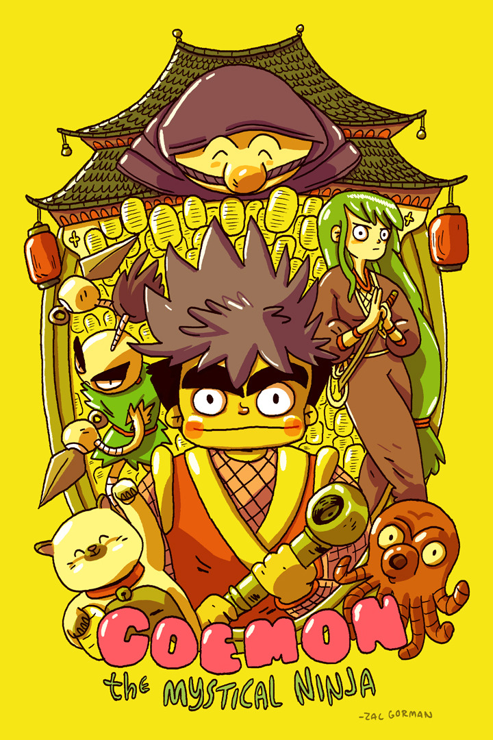 idrawnintendo:  A Goemon print I made for the COMICS vs. GAMES art show, curated by the indomitable Attract Mode.  This is a really cool series that doesn't get enough love here in the US. I chose yellow because I wanted something obnoxiously bright on the gallery wall!