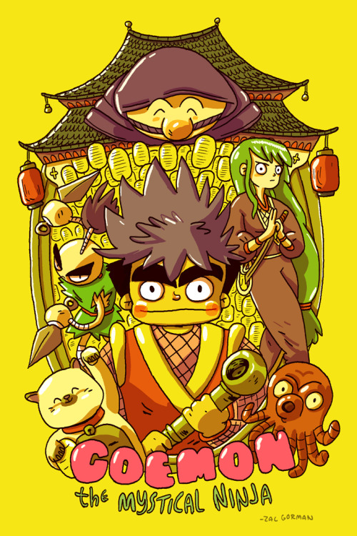 A Goemon print I made for the COMICS vs. GAMES art show, curated by the indomitable Attract Mode.  This is a really cool series that doesn't get enough love here in the US. I chose yellow because I wanted something obnoxiously bright on the gallery wall!