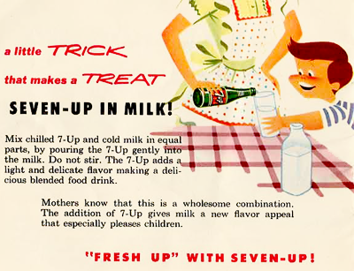 weirdvintage:  1950s 7-Up ad   Milky 7-up….not feelin' it