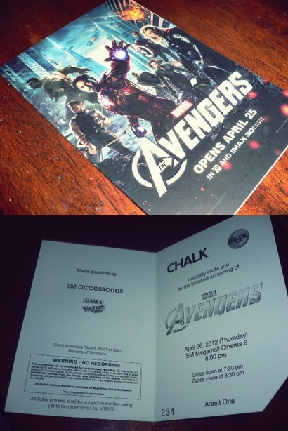 I watched The Avengers with Mona Fhe. Thanks to her! Haha! If it wasn't because of her free movie passes, 'di ko mapapanood nang libre ang Avengers! I'm so broke! Na-comatose ang wallet ko ngayon eh. Haha!