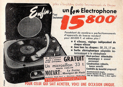 The 1950s-1959 ad for a record-player and vinyl records (by april-mo)