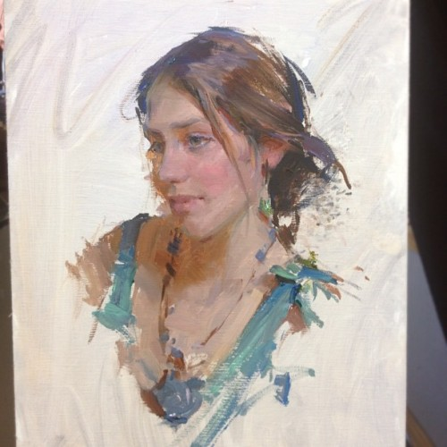 My portrait demo of @vanessarothe for the Plein Air Conference in Vegas (Taken with instagram)