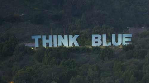 "Continuing with my Los Angeles Theme and the Dodgers, the ""Think Blue"" sign stands on the hills behind The Ravine at Dodger Stadium."