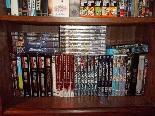 In Depth Anime Shelves ; Shelf #3  Previous shelves: Shelf One | Shelf Two Top Left: Gundam SeeD (complete), Gundam SeeD Destiny (complete) Middle: Tenjho Tenge (complete) Top Right: Final Fantasy VII Advent Children Complete, Heroic Age (complete) Row ; Left to Right: Fate/Stay Night (complete), FLCL (complete), Fullmetal Alchemist Season 1 Pt. 1 + 2 & Season 2 Pt. 2, Fullmetal Alchemist Conqueror of Shamballa, Fullmetal Alchemist OVA, Fullmetal Alchemist Brotherhood (complete), Full Metal Panic (complete), Full Metal Panic The Second Raid (complete), Full Metal Panic Fumoffu (complete), Final Fantasy VII Advent Children, Final Fantasy VII Advent Children (collectors edition), Gundam Wing Season 1, Gundam Wing Endless Waltz