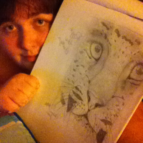 Me with Roger! His face is bigger than mine. :P also I am tired and need a haircut. But I feel accomplished and relaxed and proud and now I have a new friend. :3