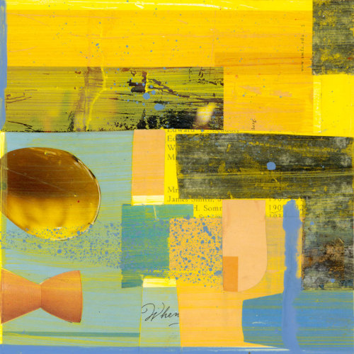 mixed media collage with bright yellow