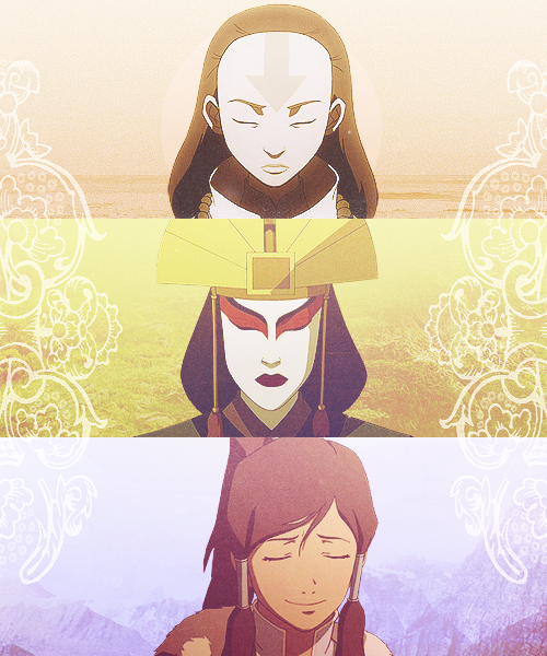 Avatar Yangchen, Avatar Kyoshi, and Avatar Korra.