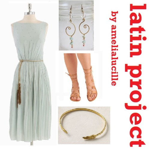 255 [amelialucille] Latin Project Cotillard Dress - $82.99 Kick Back Sandal - $39.99 Huyana Cuff in Feather - $48.00 Thespian Dangling Indie Earrings - $22.99