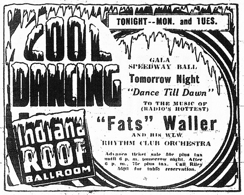 Fats Waller (by Namey McNamerson) Indiana Roof Ballroom, 1933.