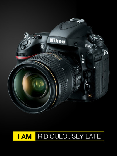 """I am - ridiculously late"" I ordered my Nikon D800 when first announced. Still, it has not arrived and I'm getting quite frustrated."